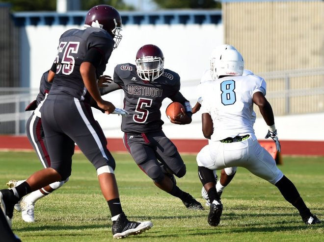Fort Pierce Westwood quarterback Coy Gray runs upfield with the ball Tuesday during a spring football game against Rockledge at Lawnwood Stadium in Fort Pierce. (JEREMIAH WILSON/TREASURE COAST NEWSPAPERS)