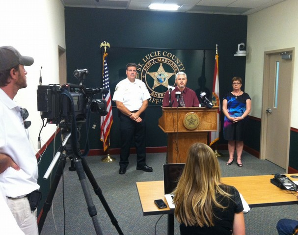 Press conference at St. Lucie County Sheriff's Office to discuss the death of Bridget Music. From left, Sheriff Ken Mascara, Detective Ron Wentz and SafeSpace Executive Director Jill Borowitz.